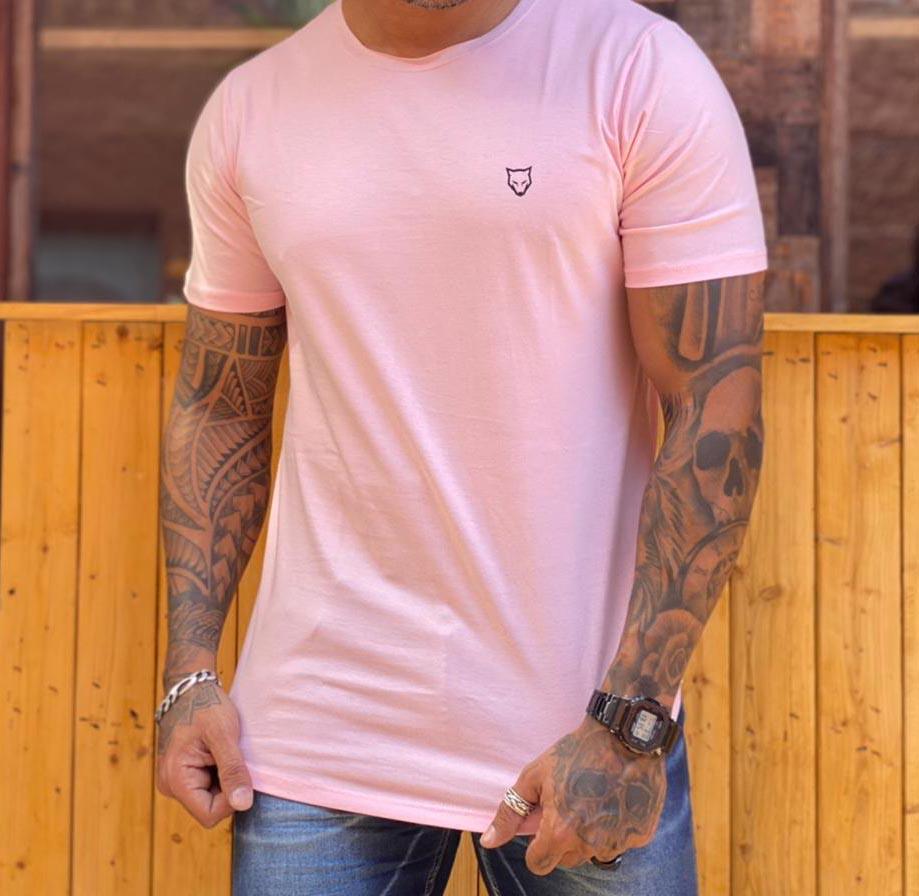 Camiseta Long Line Volk Culture Rosa Bebe  - Harpia Moda - Moda Masculina & Acessórios