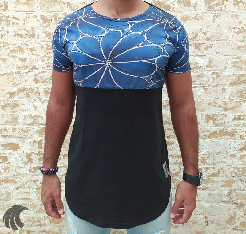 Camiseta Long Riviera Blue Flowers  - Harpia Moda - Moda Masculina & Acessórios
