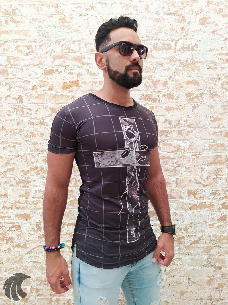 Camiseta Long Riviera Cross Flower  - Harpia Moda - Moda Masculina & Acessórios