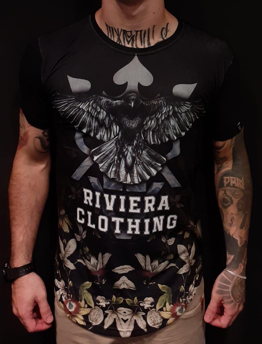 Camiseta Long Riviera Eagle White  - Harpia Moda - Moda Masculina & Acessórios