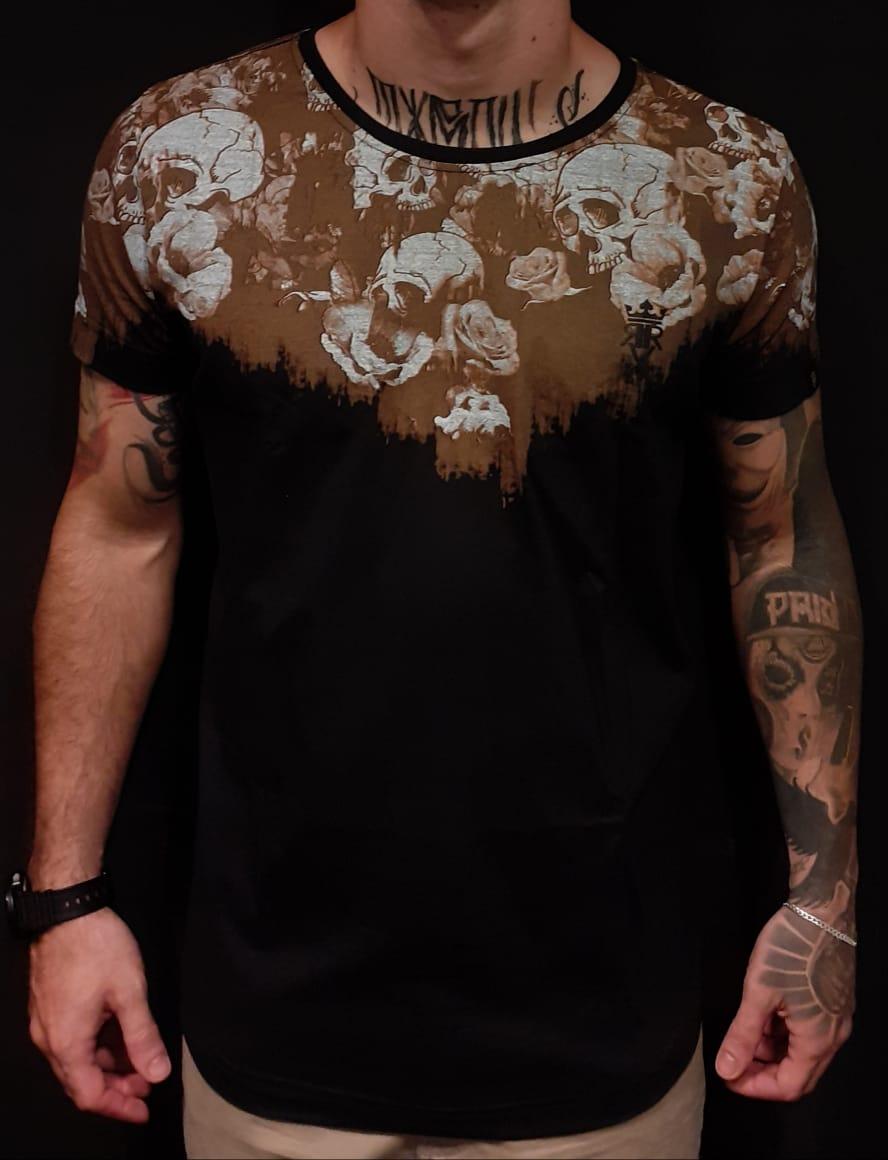 Camiseta Long Riviera Elegant Skull  - Harpia Moda - Moda Masculina & Acessórios