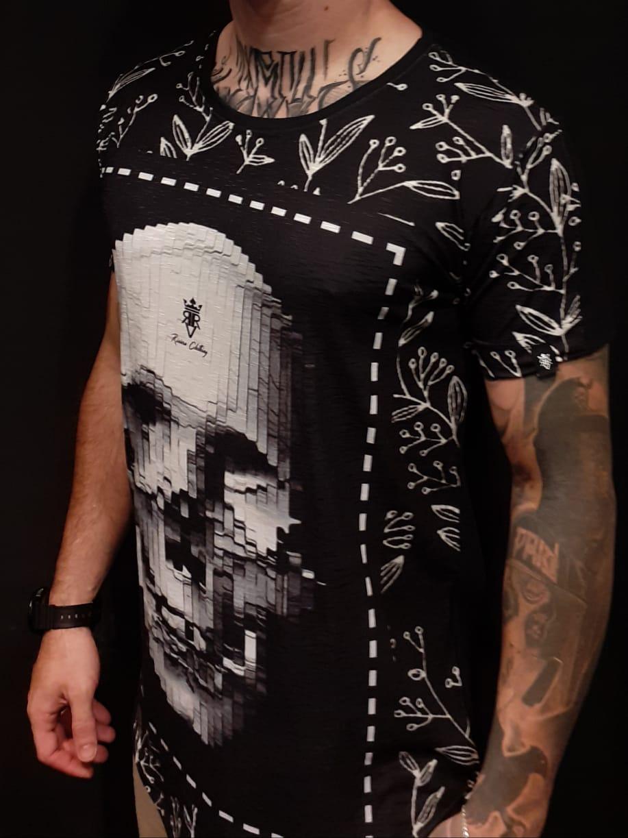 Camiseta Long Riviera Skull Screen Black  - Harpia Moda - Moda Masculina & Acessórios