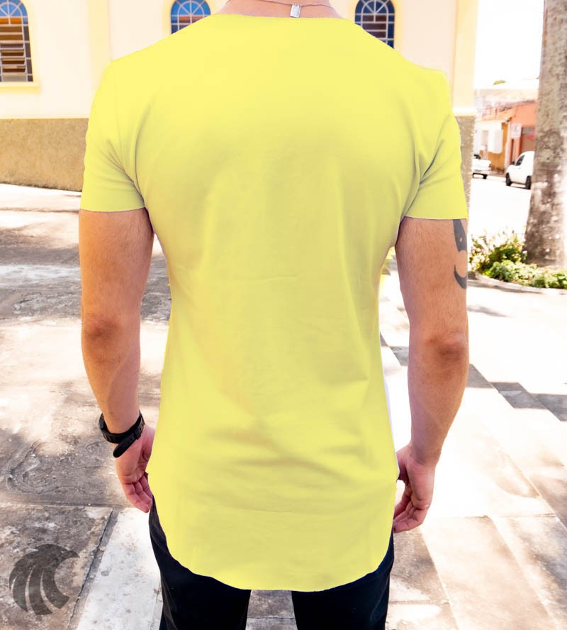 Camiseta Longline Kreta Amarela Ursinho Style  - Harpia Moda - Moda Masculina & Acessórios