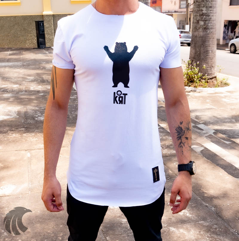 Camiseta Longline Kreta Branca Urso  - Harpia Moda - Moda Masculina & Acessórios
