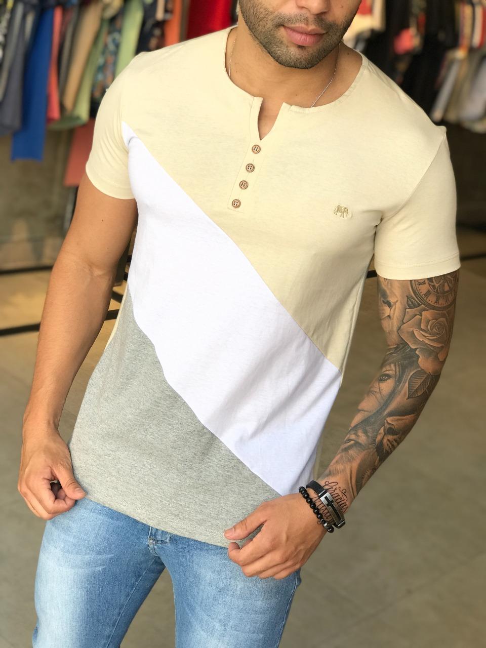 Camiseta M Artt Branca Basic Detalhe Amarelo e Cinza  - Harpia Moda - Moda Masculina & Acessórios