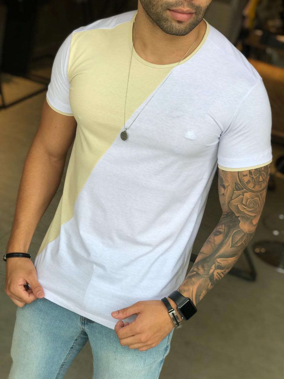 Camiseta M Artt Dual Branca e Amarela  - Harpia Moda - Moda Masculina & Acessórios