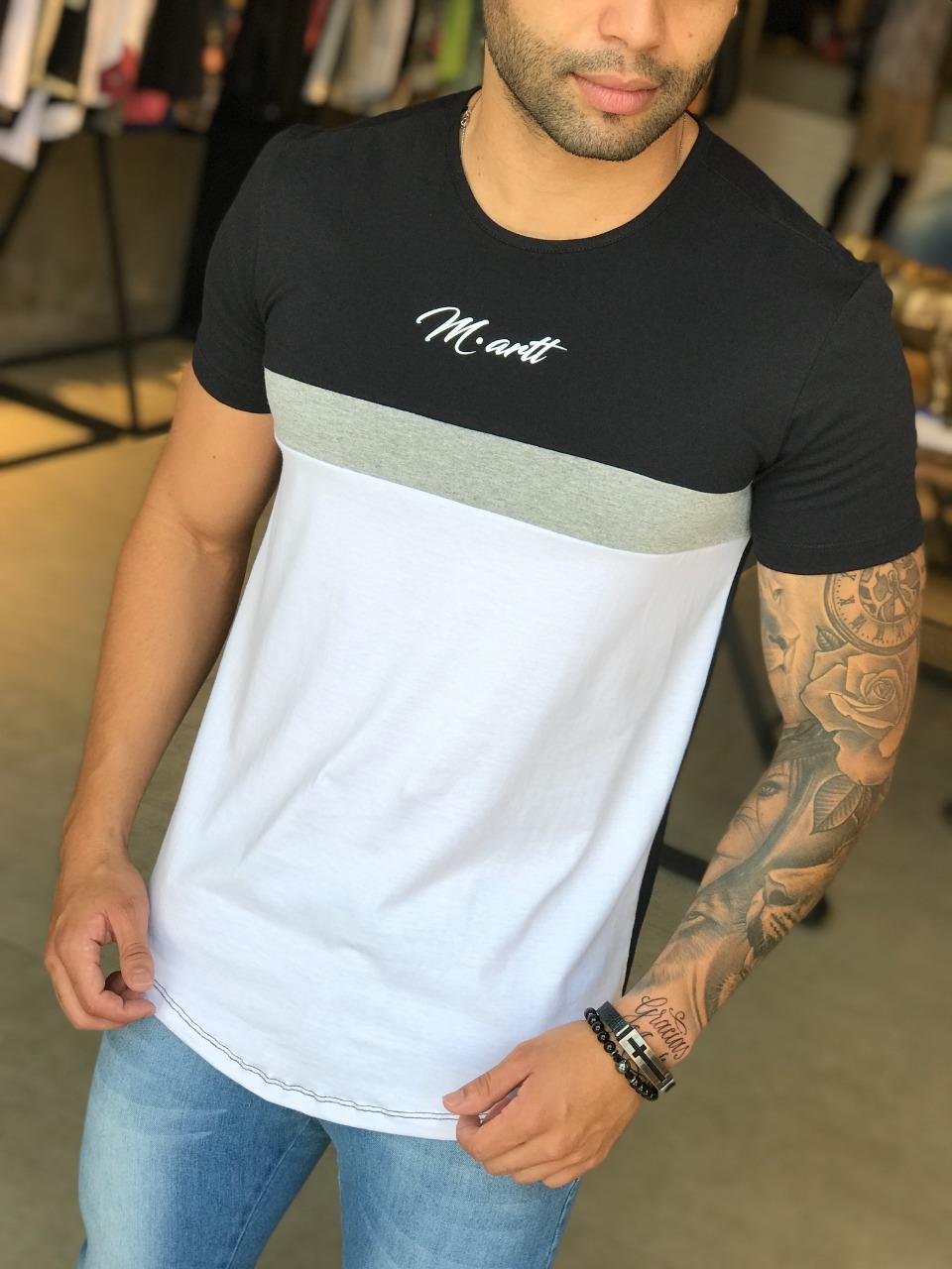 Camiseta M Artt Dual Branca e Preta Faixa Cinza   - Harpia Moda - Moda Masculina & Acessórios