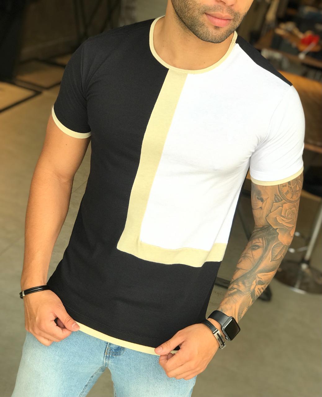 Camiseta M Artt Dual Preta e Branca Faixa Bege  - Harpia Moda - Moda Masculina & Acessórios