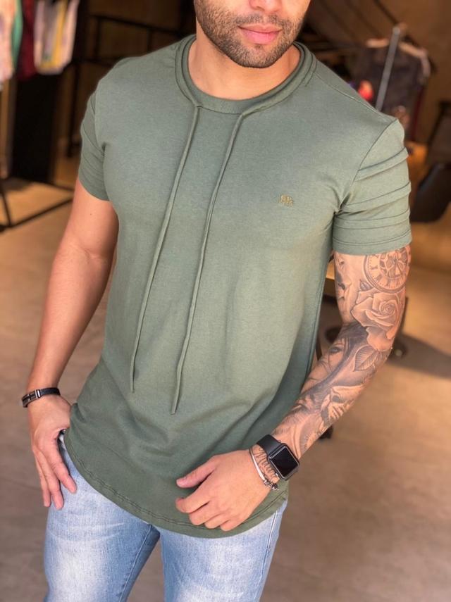 Camiseta M Artt Manga Curta Verde  - Harpia Moda - Moda Masculina & Acessórios