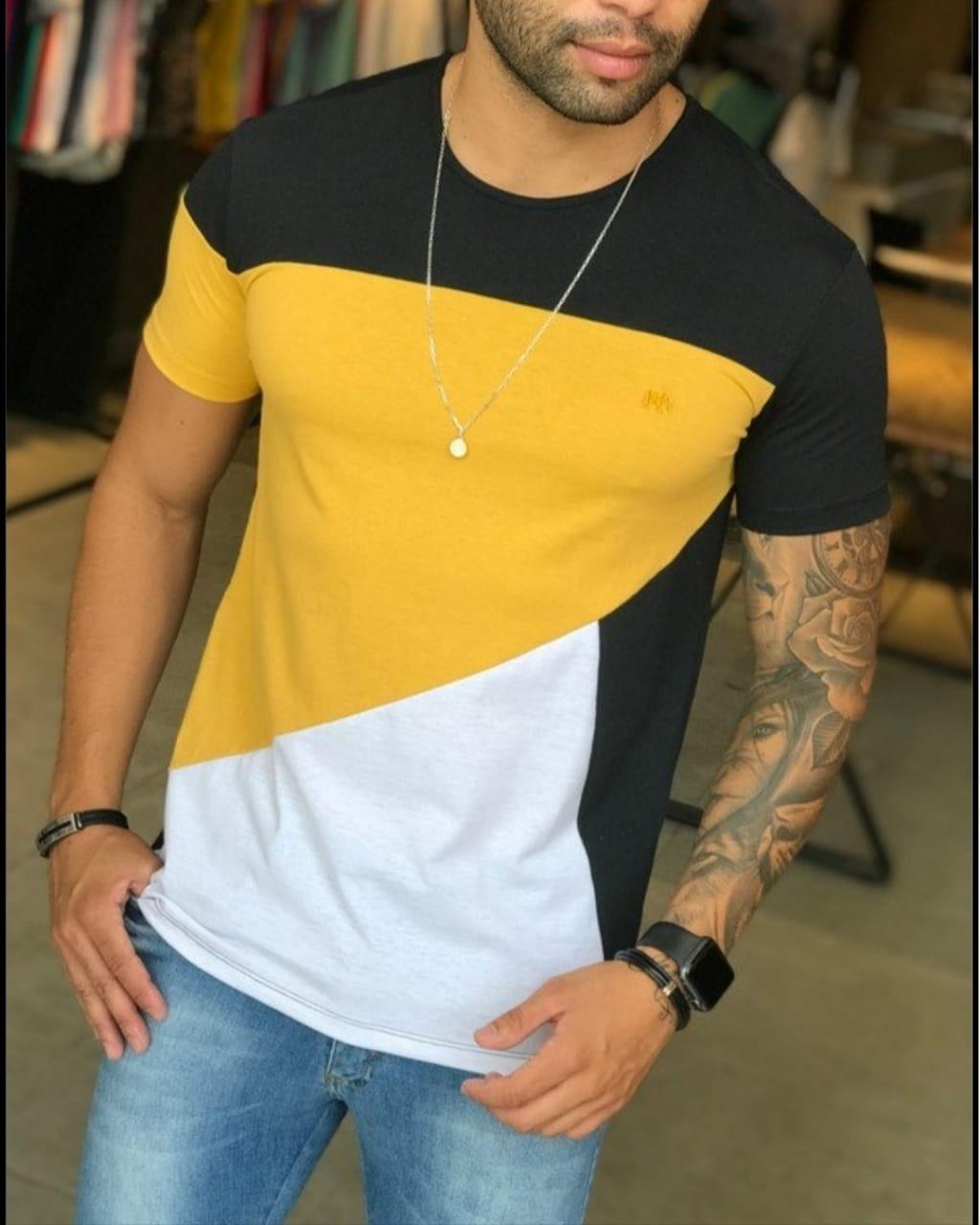 Camiseta M Artt Preta Detalhes Amarelo e Branco  - Harpia Moda - Moda Masculina & Acessórios