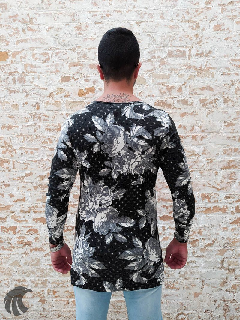 Camiseta Manga Longa Exalt Urban Florais  - Harpia Moda - Moda Masculina & Acessórios
