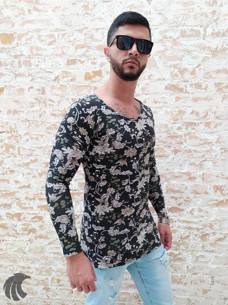 Camiseta Manga Longa Exalt Urban Florais Brilho  - Harpia Moda - Moda Masculina & Acessórios