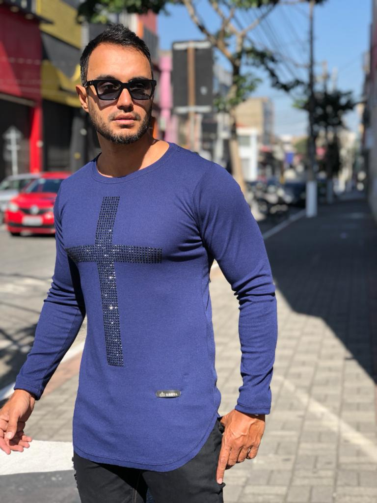 Camiseta Manga Longa Kreta Azul Cruz  - Harpia Moda - Moda Masculina & Acessórios