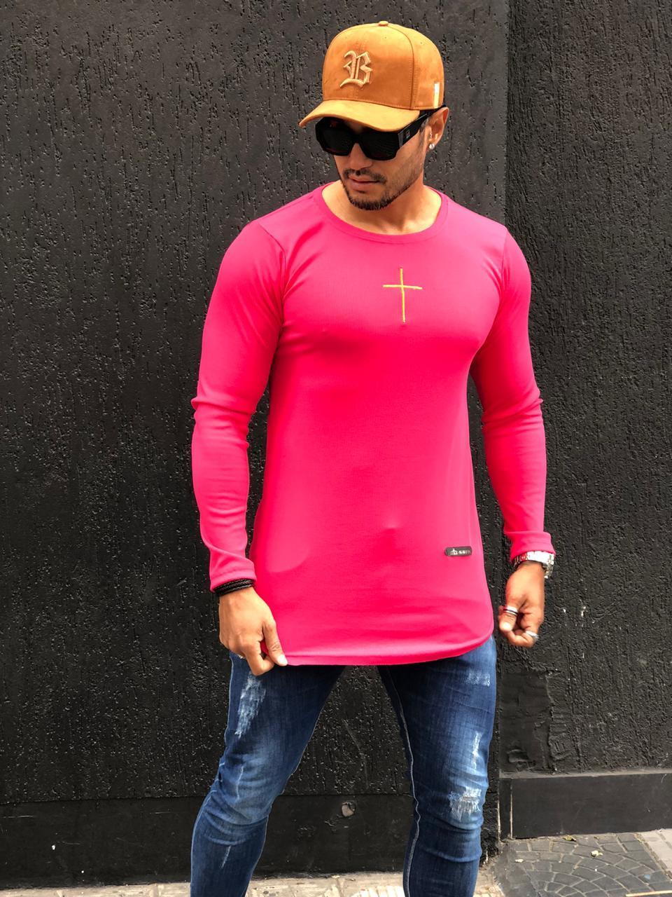 Camiseta Manga Longa Kreta Rosa Cruz Dourada  - Harpia Moda - Moda Masculina & Acessórios