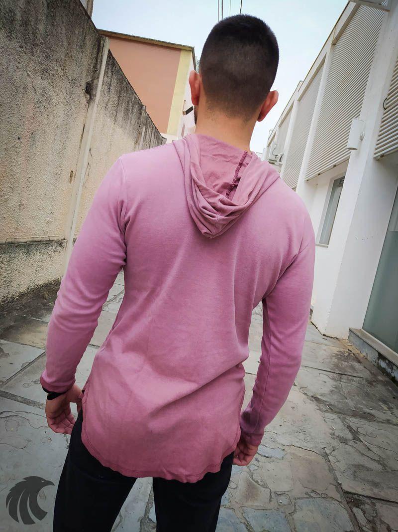 Camiseta Manga Longa Kreta Rose Rasgada  - Harpia Moda - Moda Masculina & Acessórios