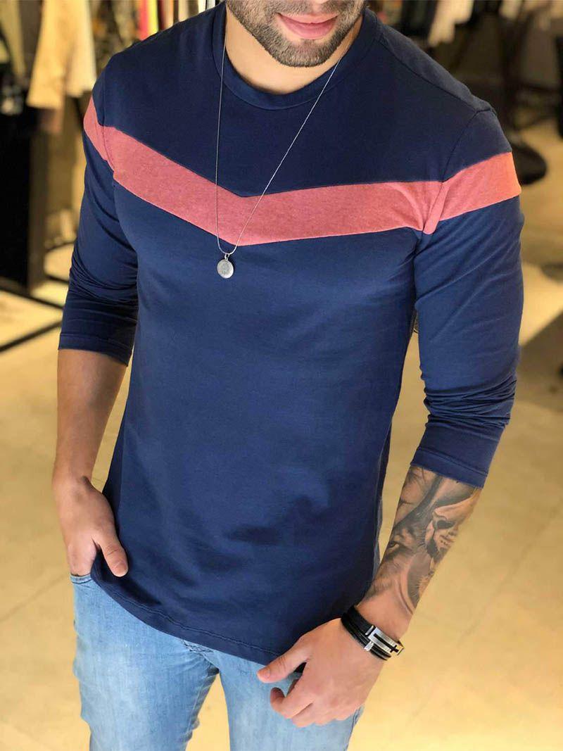 Camiseta Manga Longa M Artt Azul  V Faixa  - Harpia Moda - Moda Masculina & Acessórios