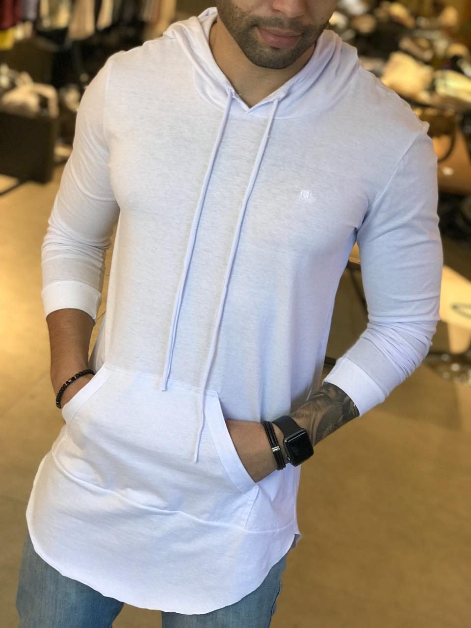 Camiseta Manga Longa M Artt Branca Bolso Detalhes   - Harpia Moda - Moda Masculina & Acessórios
