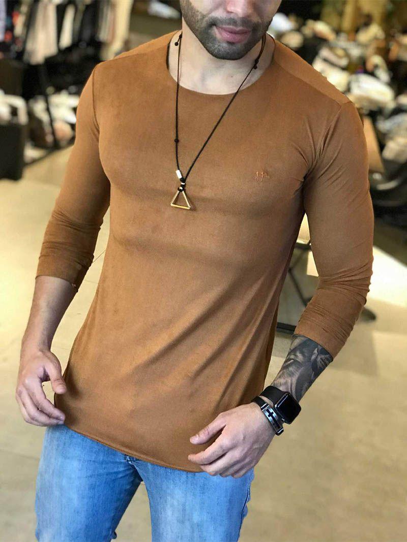 Camiseta Manga Longa M Artt Marrom Gola Redonda Suede  - Harpia Moda - Moda Masculina & Acessórios