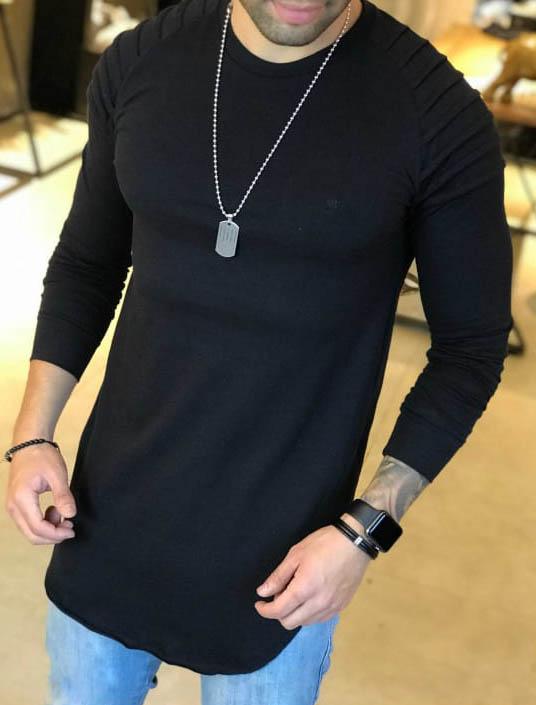 Camiseta Manga Longa M Artt Preta Detalhes Ombro  - Harpia Moda - Moda Masculina & Acessórios