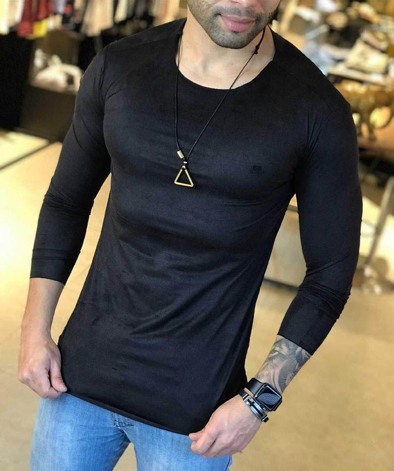 Camiseta Manga Longa M Artt Preta Gola Redonda Suede  - Harpia Moda - Moda Masculina & Acessórios