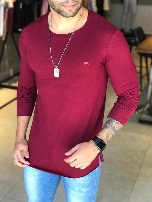 Camiseta Manga Longa M Artt Vinho Gola Redonda  - Harpia Moda - Moda Masculina & Acessórios