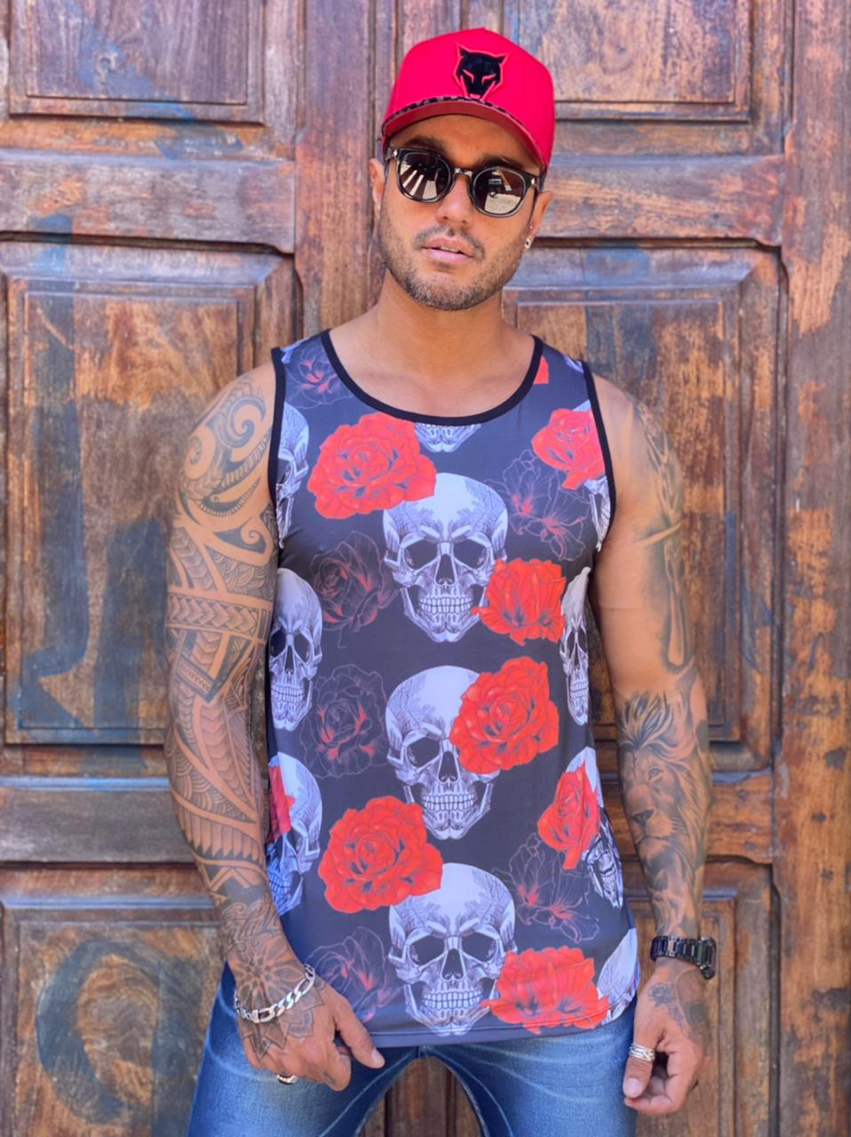 Camiseta Regata Volk Culture Preta Caveira e Rosas  - Harpia Moda - Moda Masculina & Acessórios