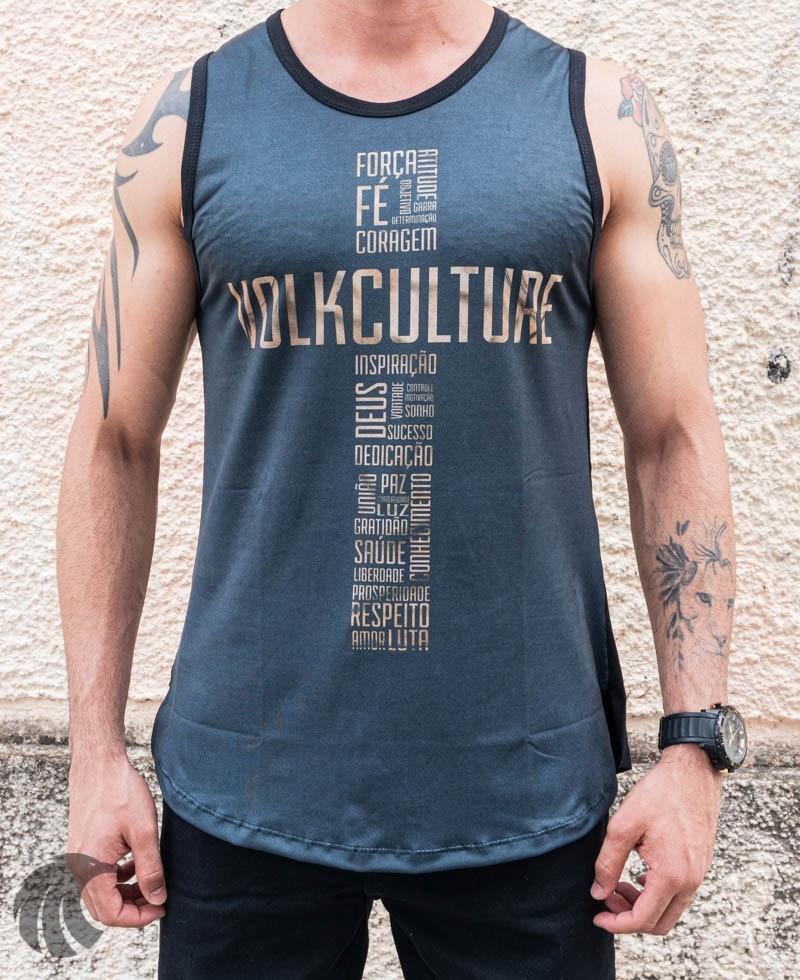 Camiseta Regata Volk Culture Preta Cruz Frases  - Harpia Moda - Moda Masculina & Acessórios