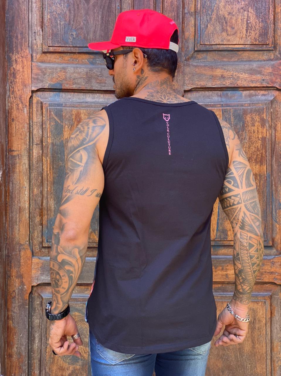 Camiseta Regata Volk Culture Preta Rosa Flamingo  - Harpia Moda - Moda Masculina & Acessórios