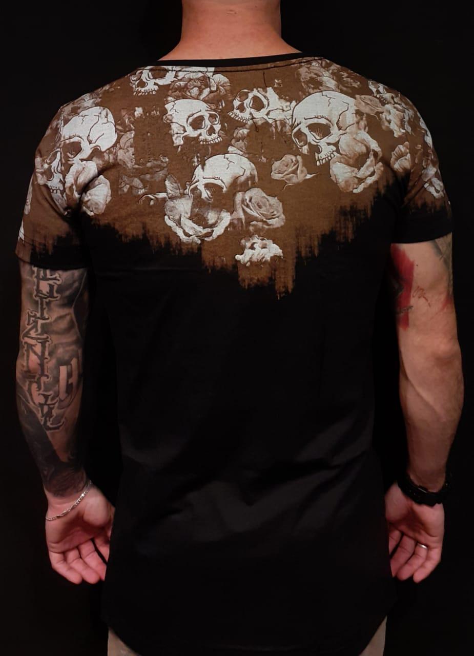 Camiseta Riviera Long Caveira  - Harpia Moda - Moda Masculina & Acessórios