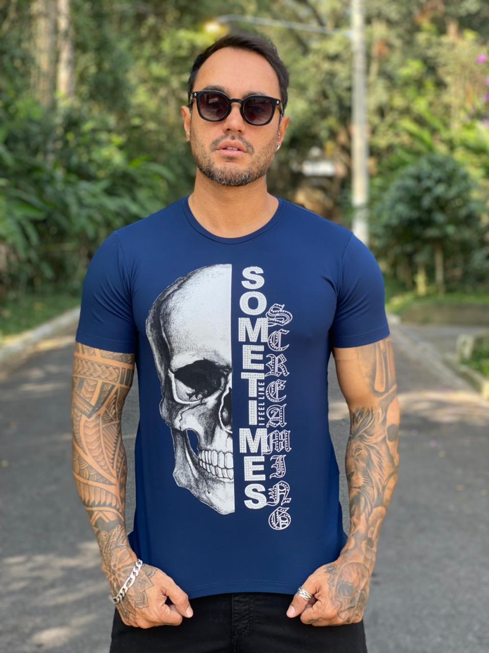 Camiseta Starpolis Azul Caveira Sometimes  - Harpia Moda - Moda Masculina & Acessórios