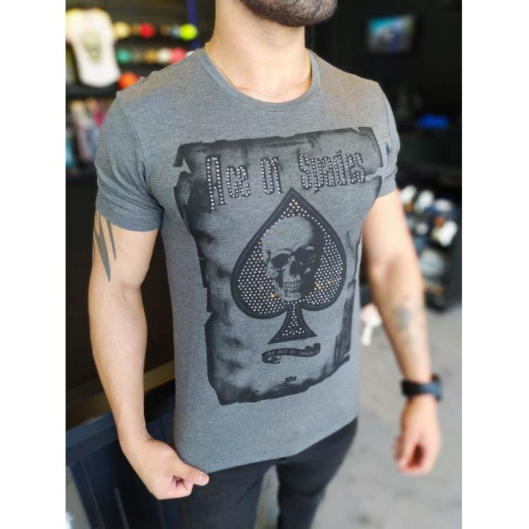 Camiseta Starpolis Cinza Ace of Spades  - Harpia Moda - Moda Masculina & Acessórios