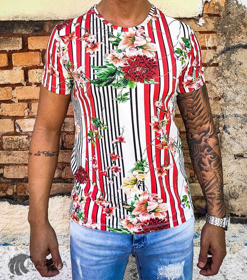 Camiseta Starpolis Flowers Lines  - Harpia Moda - Moda Masculina & Acessórios