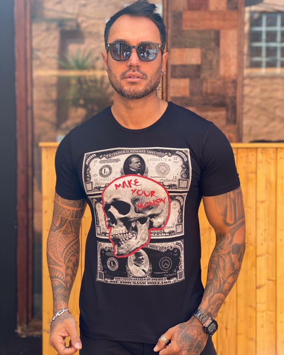 Camiseta Starpolis Preta Dolares  - Harpia Moda - Moda Masculina & Acessórios