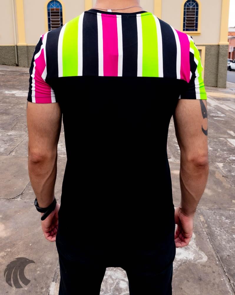 Camiseta Starpolis Preta Faixas Multicores   - Harpia Moda - Moda Masculina & Acessórios