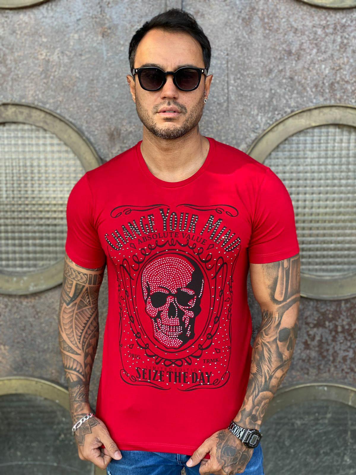 Camiseta Starpolis Vermelho Caveira  - Harpia Moda - Moda Masculina & Acessórios