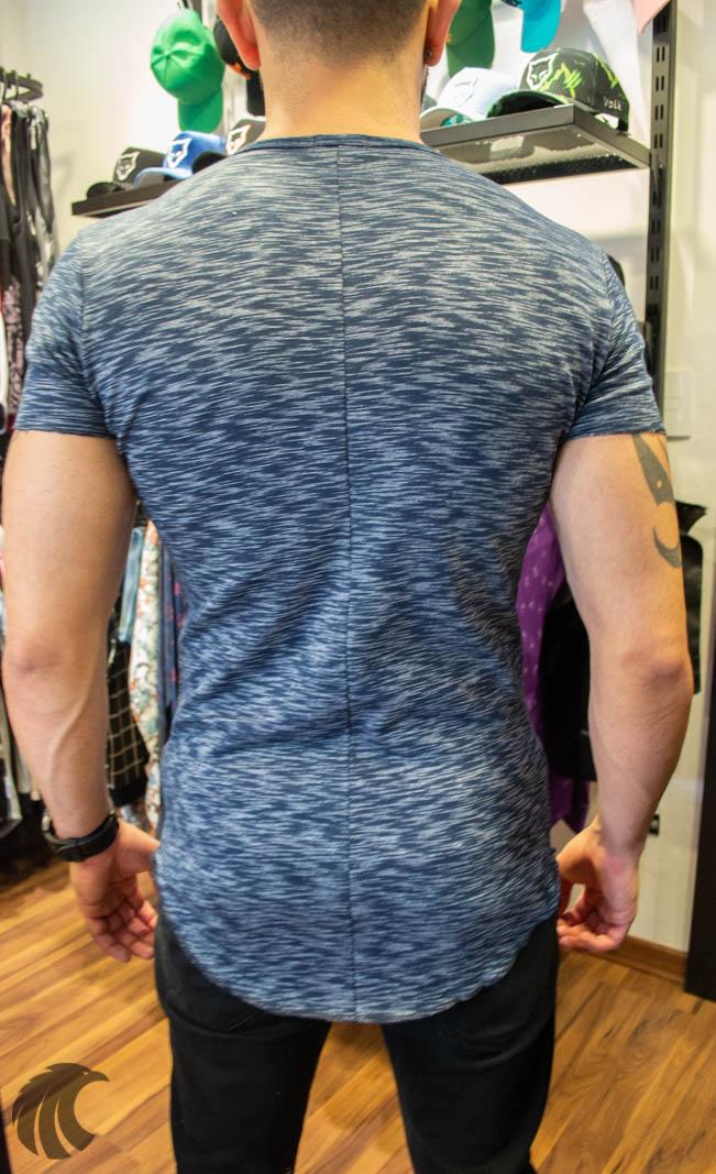 Camiseta Totanka Azul Rajado Tecido Ribana   - Harpia Moda - Moda Masculina & Acessórios
