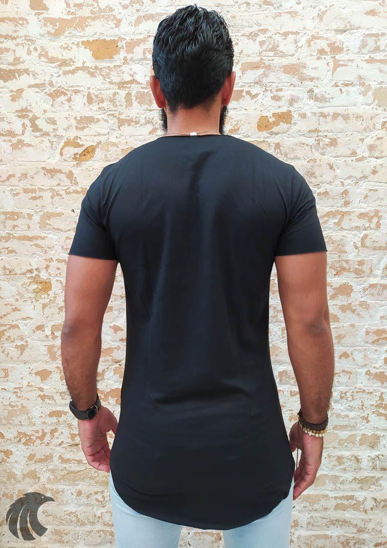 Camiseta Totanka Preta Long Line  - Harpia Moda - Moda Masculina & Acessórios