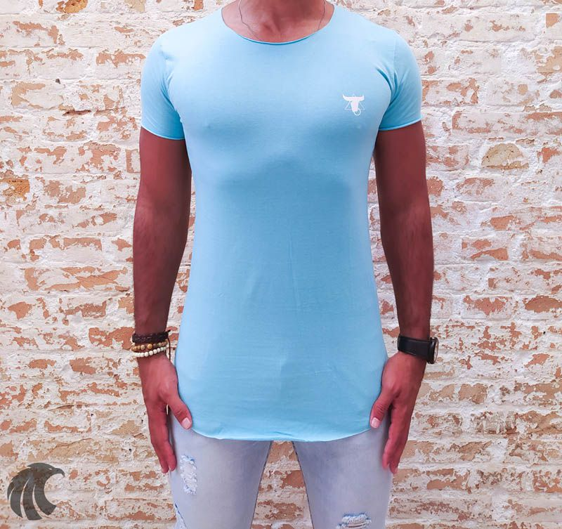 Camiseta Totanka Blue Long Line  - Harpia Moda - Moda Masculina & Acessórios