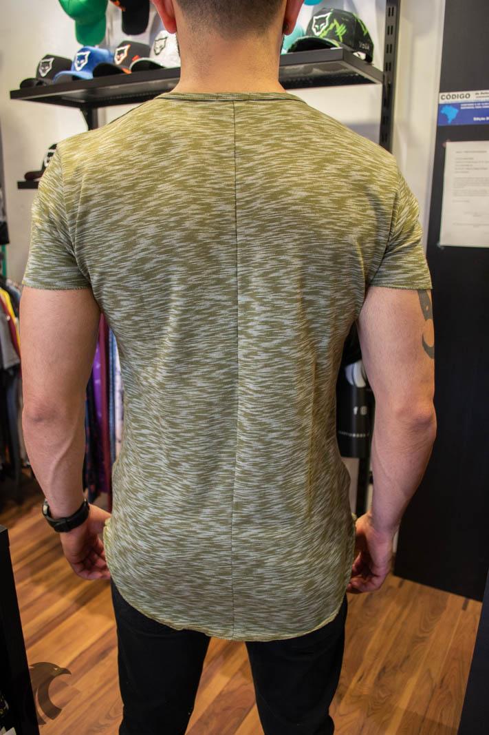 Camiseta Totanka Verde Rajado Tecido Ribana   - Harpia Moda - Moda Masculina & Acessórios