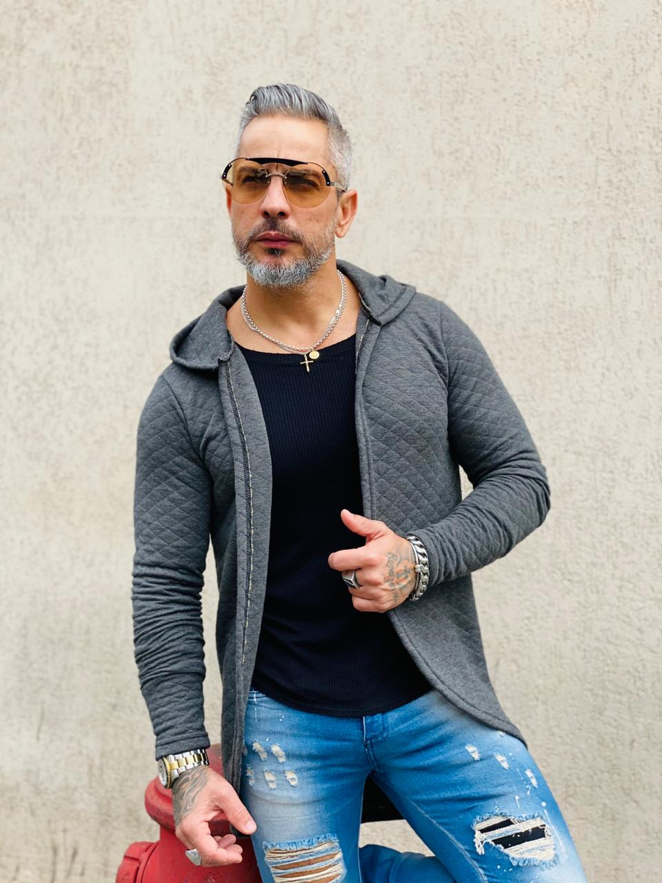 Cardigan Exalt Urban Cinza Prime  - Harpia Moda - Moda Masculina & Acessórios