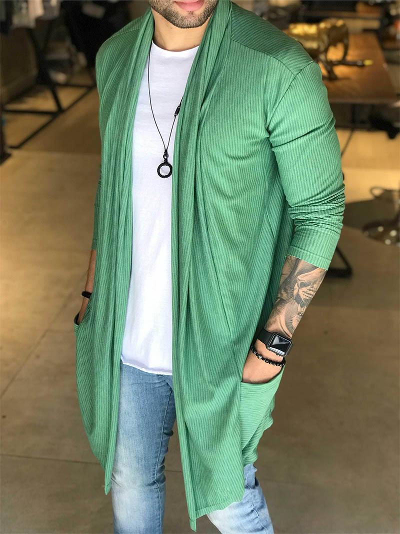 Cardigan M Artt Canelado Verde Esmeralda  - Harpia Moda - Moda Masculina & Acessórios