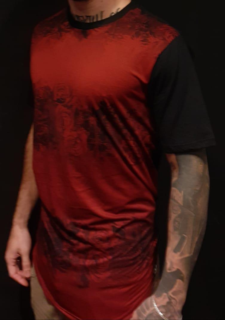 Camiseta Evoque Long Line  Front Red  - Harpia Moda - Moda Masculina & Acessórios