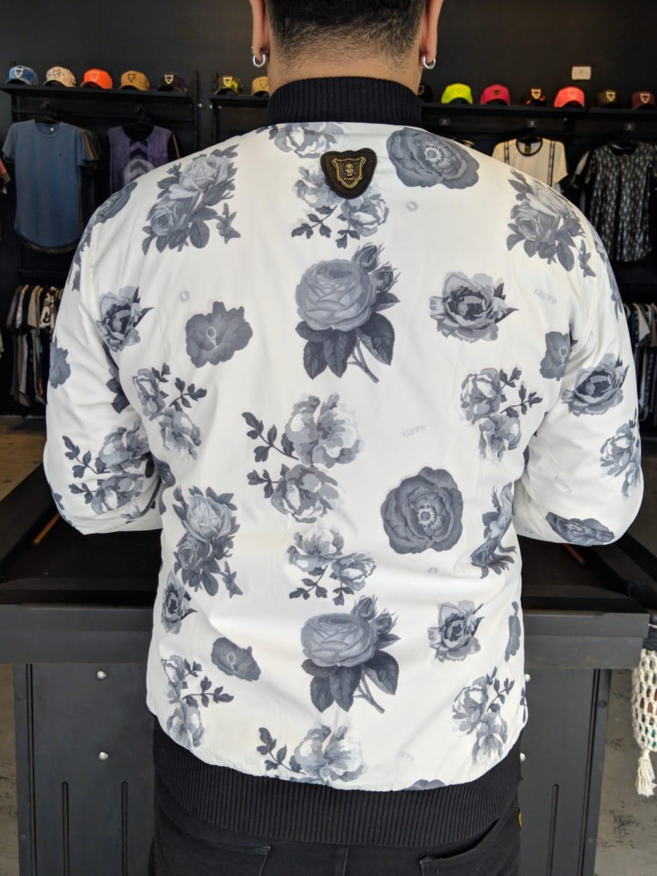 Jaqueta Bomber Kawippi Floral Branca  - Harpia Moda - Moda Masculina & Acessórios