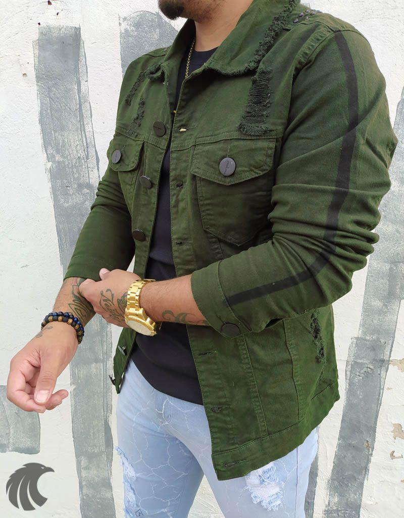 Jaqueta Codi Destroyed Detail Verde  - Harpia Moda - Moda Masculina & Acessórios