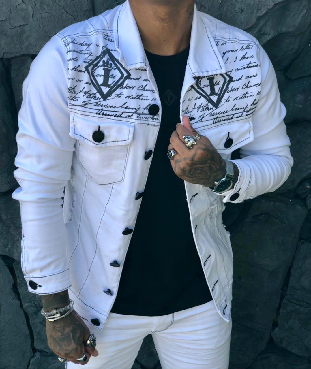 Jaqueta Codi Jeans Branca Deluxe  - Harpia Moda - Moda Masculina & Acessórios