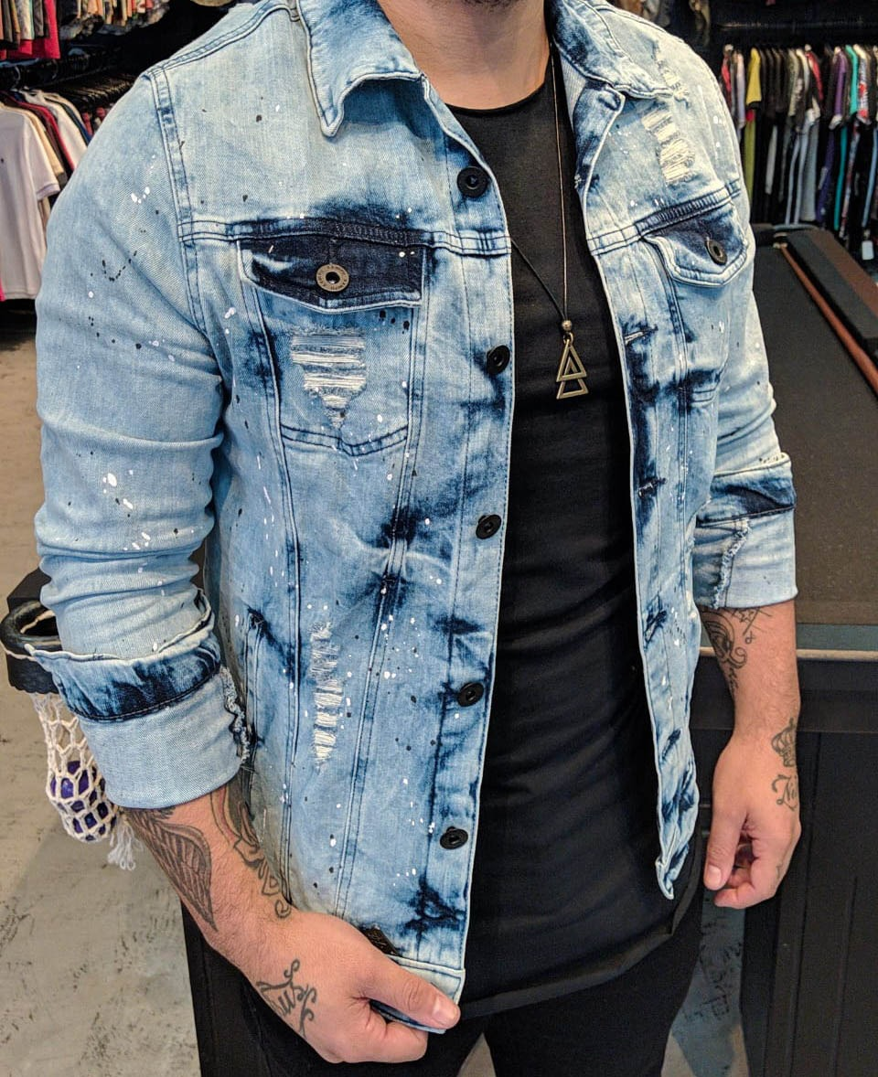 Jaqueta Jeans Kawippi Azul Claro  - Harpia Moda - Moda Masculina & Acessórios