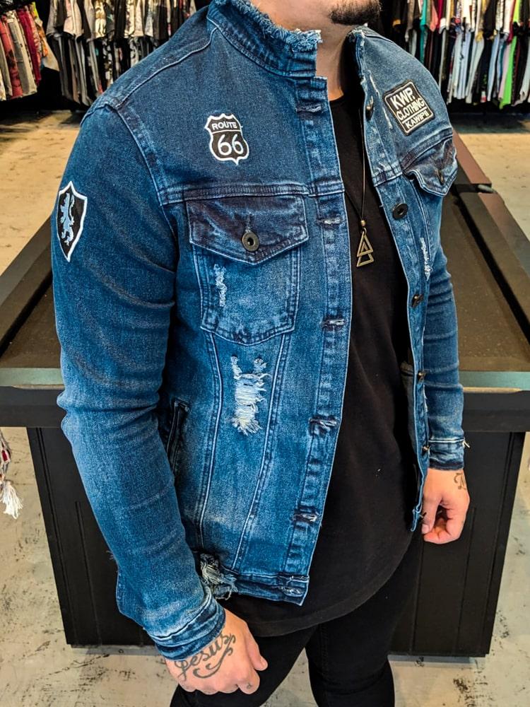 Jaqueta Jeans Kawippi Azul Escuro  - Harpia Moda - Moda Masculina & Acessórios