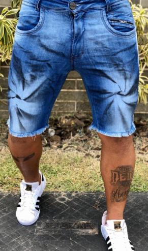 Short Jeans Codi Destroyed Azul Effects Black  - Harpia Moda - Moda Masculina & Acessórios