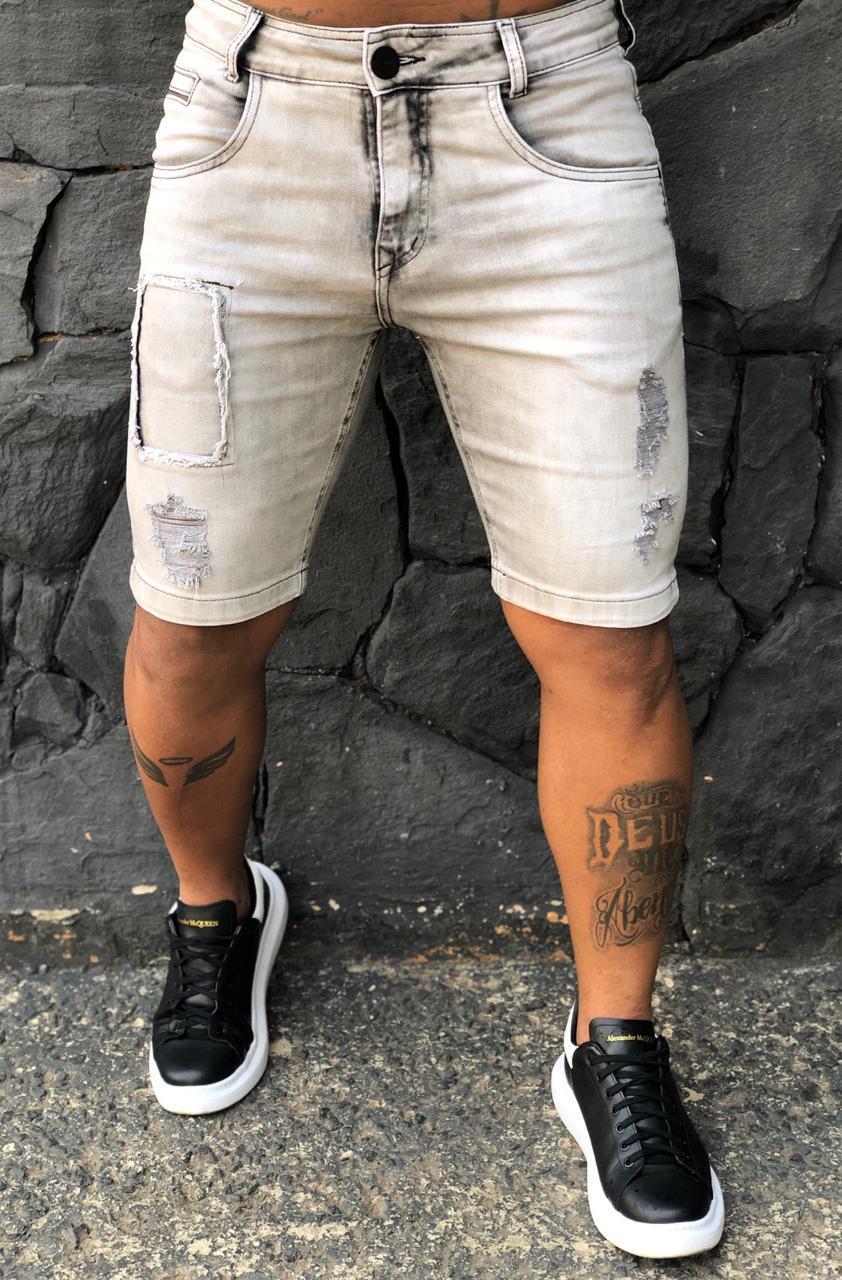 Short Jeans Codi Destroyed Cinza Claro   - Harpia Moda - Moda Masculina & Acessórios