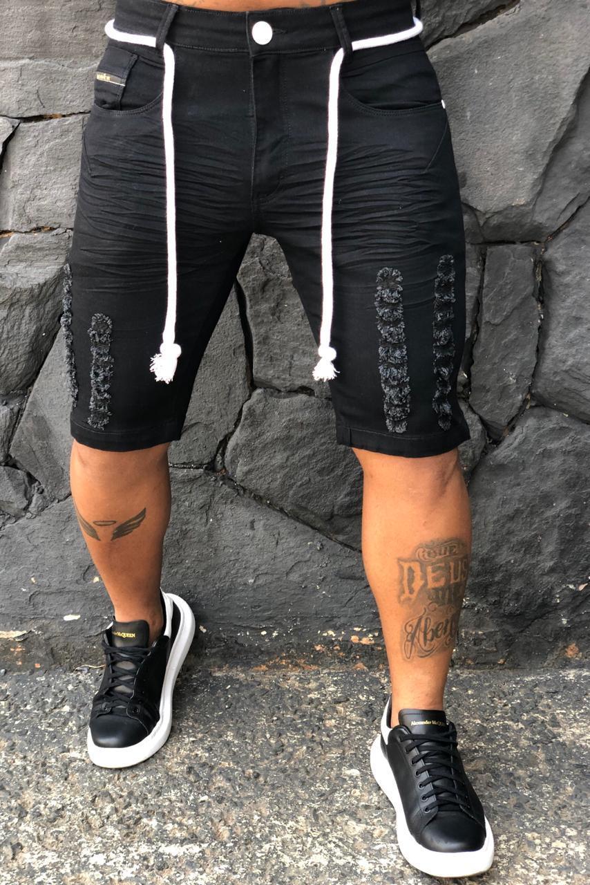 Short Jeans Codi Destroyed Preta Cordão Two Prime  - Harpia Moda - Moda Masculina & Acessórios
